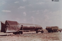 R-1 rocket (V-2 rebuilt by Russia) on a Vidalwagen at Kapustin Yar