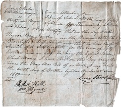 "Bill of sale for the auction of the ""Negro Boy Jacob"" for ""Eighty Dollars and a half"" (equivalent to $1,406 in 2019) to satisfy a money judgment against the ""property"" of his owner, Prettyman Boyce. October 10, 1807. Click on photo for complete transcription."