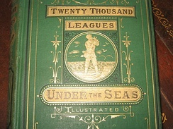 "Detail of ""Twenty Thousand Leagues Under the Sea"", first English edition (1873), showing cloth pattern on cover"