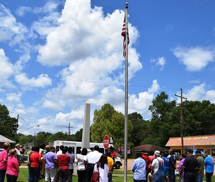 Residents of Kentwood, Louisiana, gather outside the Town Hall alongside LA 38 to observe 2015's National Day of Prayer.