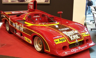 "An Alfa Romeo Grand Prix car in 1977, painted Rosso Corsa, (""racing red""), the traditional racing color of Italy from the 1920s until the late 1960s."