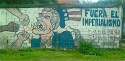 Street art in Venezuela, depicting Uncle Sam and accusing the U.S. government of imperialism