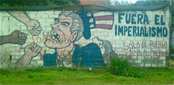 Hugo Chávez strongholds in Caracas slums, Venezuela, often feature political murals with anti-U.S. messages.