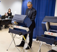President Barack Obama casting his vote early in Chicago on November 7, 2016