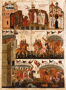 The battle as shown by Novgorodian icon