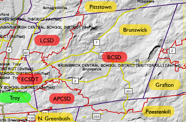 Brunswick is part of five school districts: Averill Park, Brittonkill, Lansingburgh, Troy, and Wynantskill