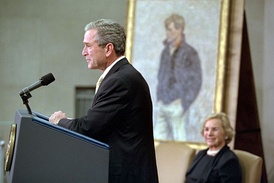 President George W. Bush dedicates The Justice Department building in honor of Robert Kennedy as Ethel Kennedy looks on.