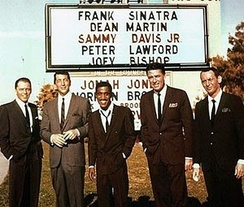 "Members of the ""Rat Pack"", L-R: Frank Sinatra, Dean Martin, Sammy Davis Jr., Lawford, and Joey Bishop"