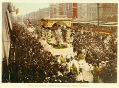 Rex in procession down Canal Street; postcard from around 1900