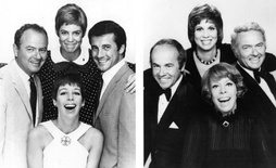 On the left, cast members in 1967 (clockwise from the bottom): Burnett, Harvey Korman, Vicki Lawrence, and Lyle Waggoner, on the right, the 1977 cast: Burnett, Tim Conway, Lawrence, and Korman