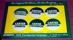 Buttons of Carter's options for vice president