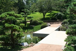 Chicago Botanic Garden, with a view of the zig-zag bridge