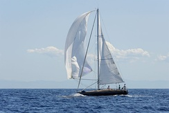 Aigue Blu raising her spinnaker during the 'Corsica Classic 2013' yacht race