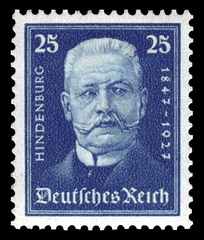 A Hindenburg stamp released in 1927 on the occasion of his 80th birthday