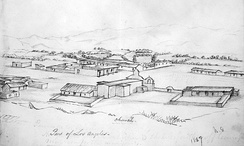 Drawing by William Rich Hutton depicting a section of Los Angeles, ca.1847–49