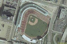 An aerial view of the ballpark