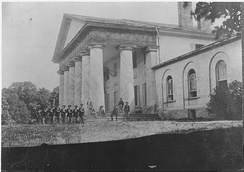 East front of Arlington House with Union Army Soldiers on lawn (1864)