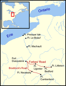 Map showing fort locations and the routes taken by Braddock and Forbes