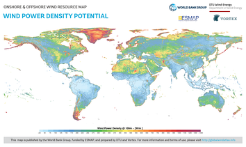 Global map of wind power density potential.[53]