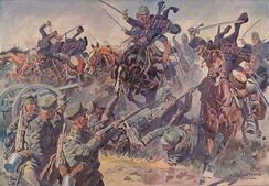 Hungarian hussars attacking the Russian Army in Krasnik, Poland 23 August 1914