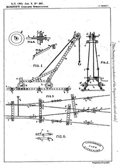 Frank Hornby's 1901 patent number GB190100587A for what later became known as Meccano