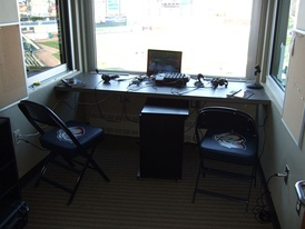The Iron Pigs' home radio booth at Coca-Cola Park in Allentown, Pennsylvania.