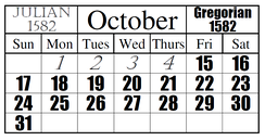 This is a visual example of the official date change from the Julian calendar to the Gregorian.