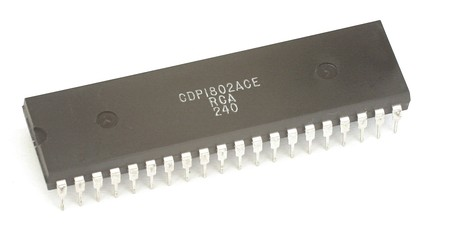 RCA 1802, sometimes known as the COSMAC, an 8-bit CMOS microprocessor from 1976.