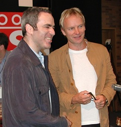 Garry Kasparov and Sting in Times Square, New York, 2000