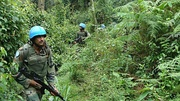 Indian soldiers patrol under UN mission in Congo, Africa
