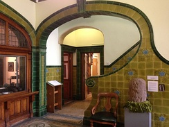 Art Nouveau tiling in the entrance hall