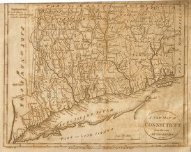 A 1799 map of Connecticut which shows The Oblong, from Low's Encyclopaedia
