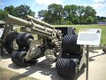 The only surviving prototype M2A2 Terra Star Auxiliary Propelled Howitzer at the Rock Island Arsenal Museum. Note the tri-star wheel system and auxiliary drive system on the right trail leg.
