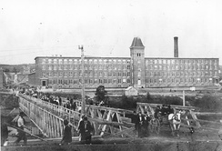 View of the Marysville cotton mill in 1885, two years after it first opened.
