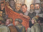 Detail of Man, Controller of the Universe, fresco at Palacio de Bellas Artes showing Leon Trotsky, Friedrich Engels, and Karl Marx