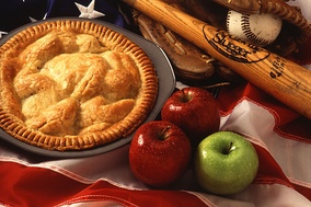 American cultural icons, apple pie, baseball, and the American flag.