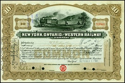 Share of the New York, Ontario and Western Railway, issued 7 October 1921