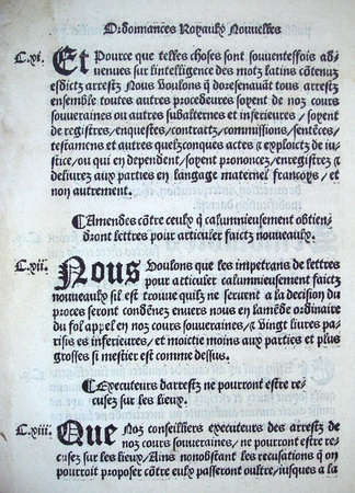 Printed version of article 111 of the Ordinance of Villers-Cotterêts, prescribing the use of French in official documents