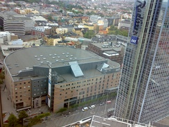 Oslo Spektrum (left, next to the Oslo Plaza tower building)