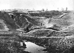 Petersburg Crater with Union soldier in 1865