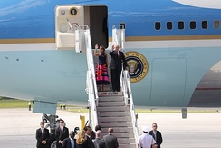 President Donald Trump disembarking Air Force One in Germany for the G20 Summit.