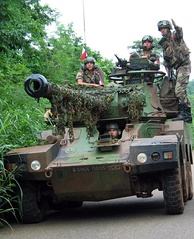 An ERC 90 Sagaie of the 1st Parachute Hussar Regiment of the French Army in Côte d'Ivoire in 2003