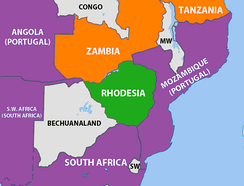 The geopolitical situation of Rhodesia in 1965. Rhodesia is coloured green and countries friendly to the government (South Africa and Portugal) are shown in purple.