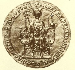 "Seal of Richard, Earl of Cornwall, showing him enthroned as King of the Romans. Seal inscribed: RICARDUS DEI GRATIA ROMANORUM REX SEMPER AUGUSTUS. (""Richard by the grace of God King of the Romans ever august"")"