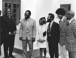 CORE President Roy Innis (2nd from left) and then wife Doris Funnye Innis (center) with a delegation from CORE is greeted by Kenyan President Jomo Kenyatta (left).