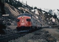 An EMD FP7 leads a Pacific Rail Society Special through Floriston, California in February, 1971.