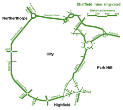 The inner ring road of Sheffield in England, UK