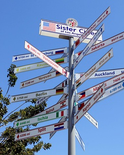 A sign near City Hall points to the sister cities of Los Angeles.