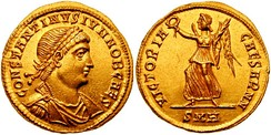 Solidus issued under Constantine II, and on the reverse Victoria, one of the last deities to appear on Roman coins, gradually transforming into an angel under Christian rule[259]