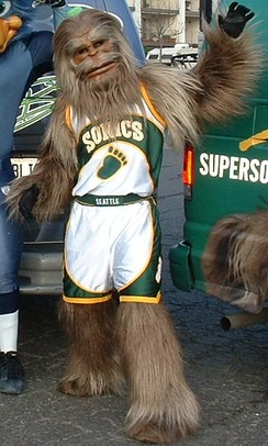 Squatch wearing the Sonics' home uniform in 2005